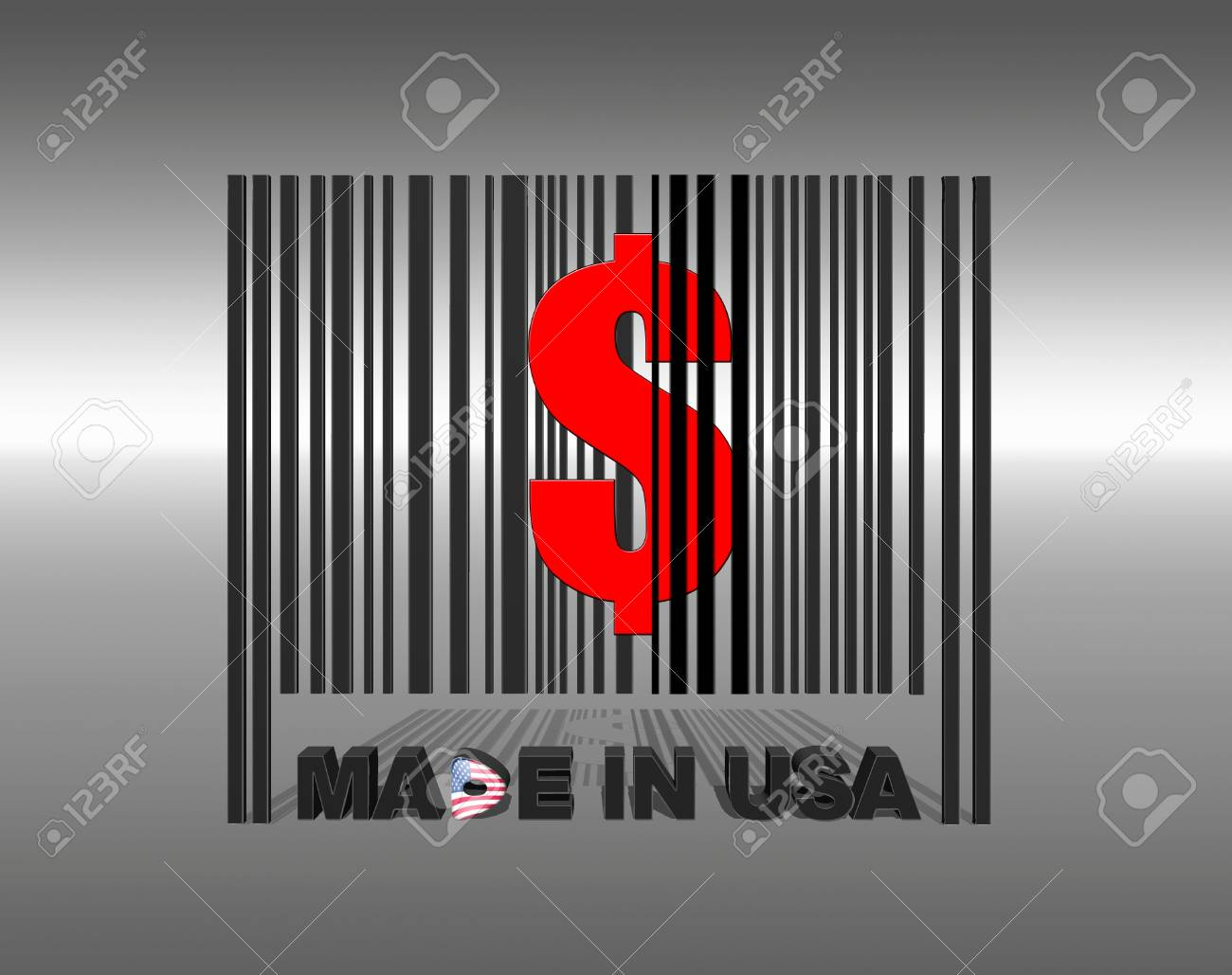Illustration with a barcode made in usa Stock Illustration - 17325638