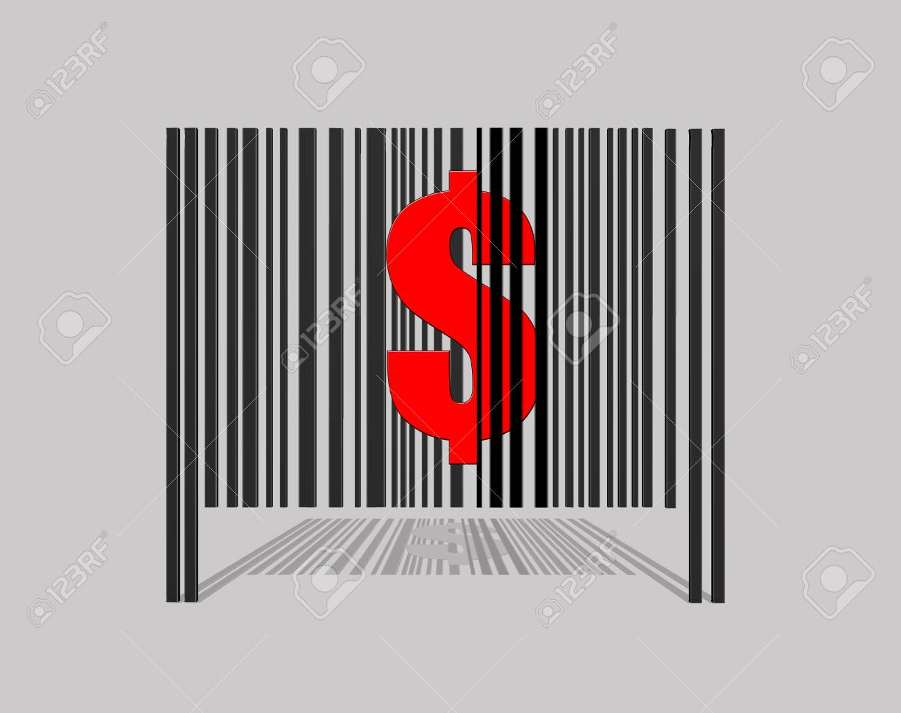 Illustration with a barcode dollar on grey background Stock Illustration - 17421634