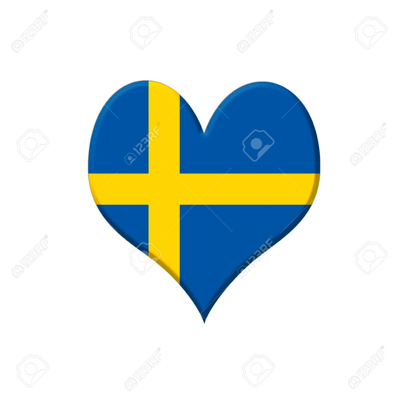 Illustrazione Con Un Cuore Svezia Su Sfondo Bianco Foto Royalty Free