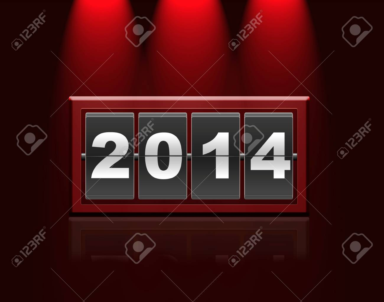 Illustration with a metal counter calendar 2014 Stock Photo - 22252530