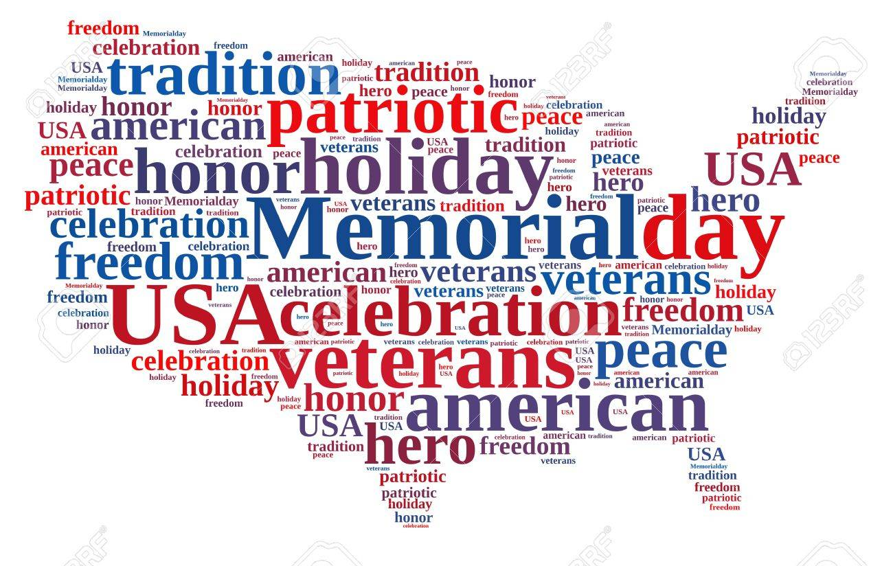 illustration with word cloud about memorial day stock photo