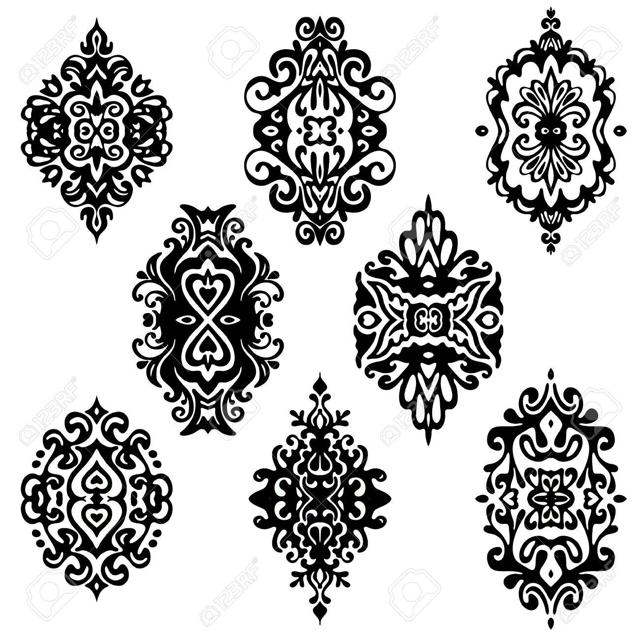 Set Of Vector Graphic Abstract Damask Flower Ornamental Designs Stock