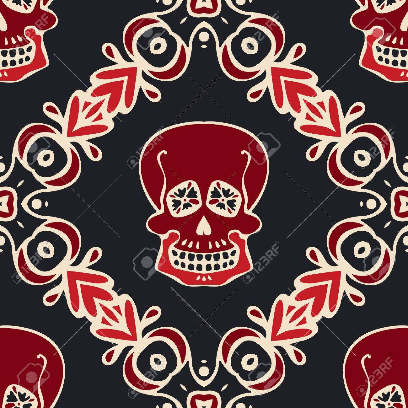Victorian Gothic Skull Damask Pattern Mexican Seamless Design
