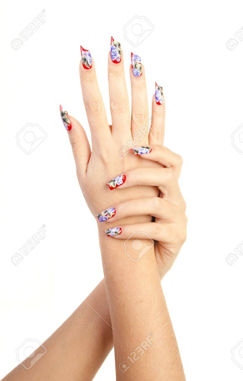 Two hands with beautiful nails unusual shape on white background Stock Photo - 10897141