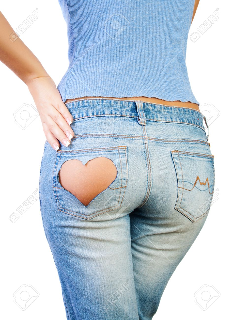 Girl In Jeans With Heart-shaped Hole On The Buttock, Hand On ...