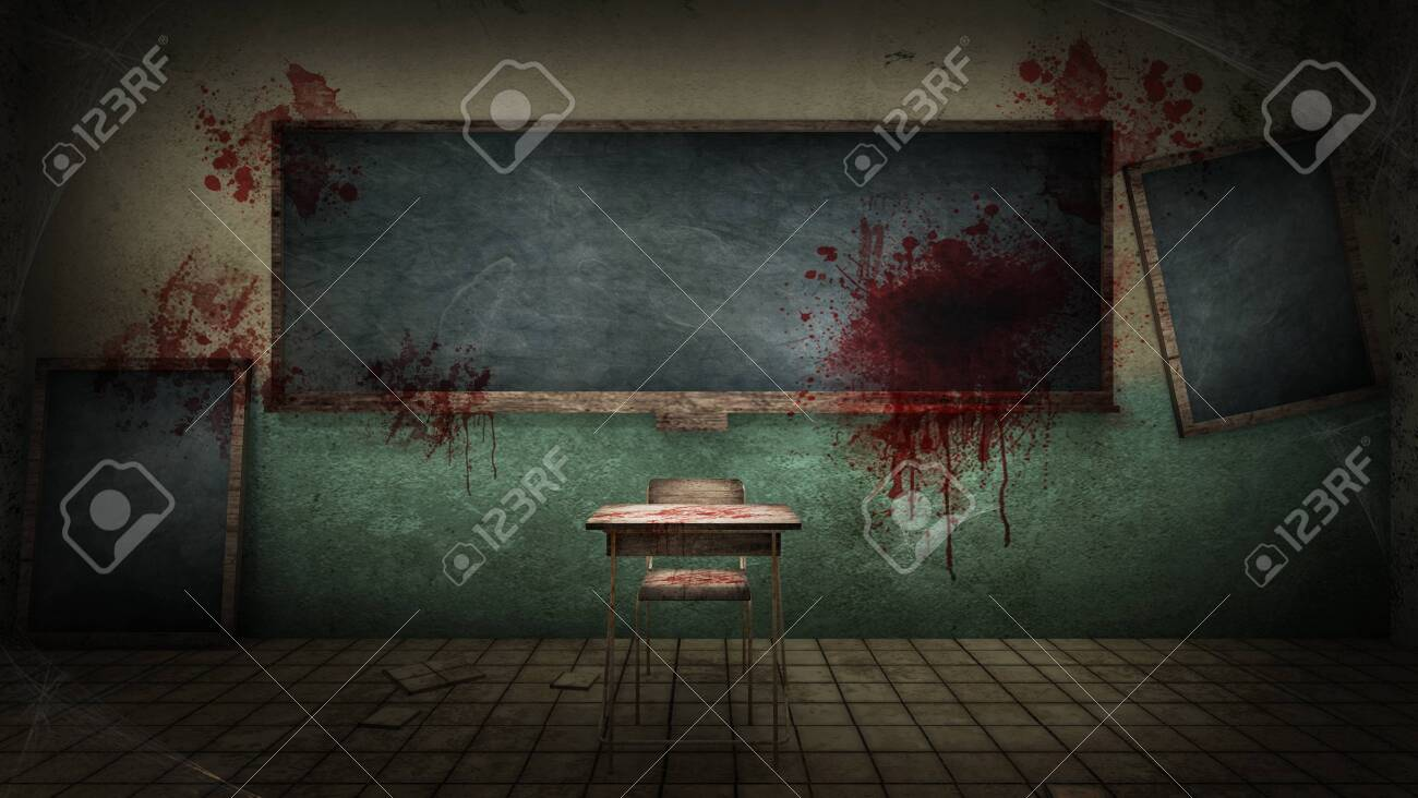 horror and creepy classroom in the school with blood. 3D rendering - 150062210