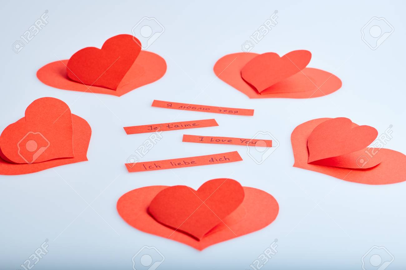 Valentine S Day Theme With Hand Made Red Paper Hearts And Words