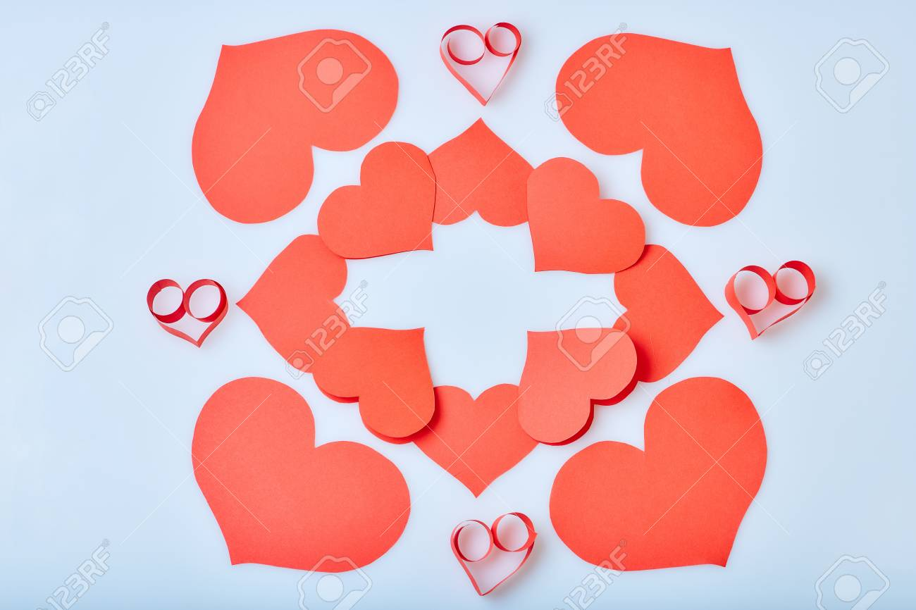 Valentine S Day Theme With Composition Of Red Paper Hearts For