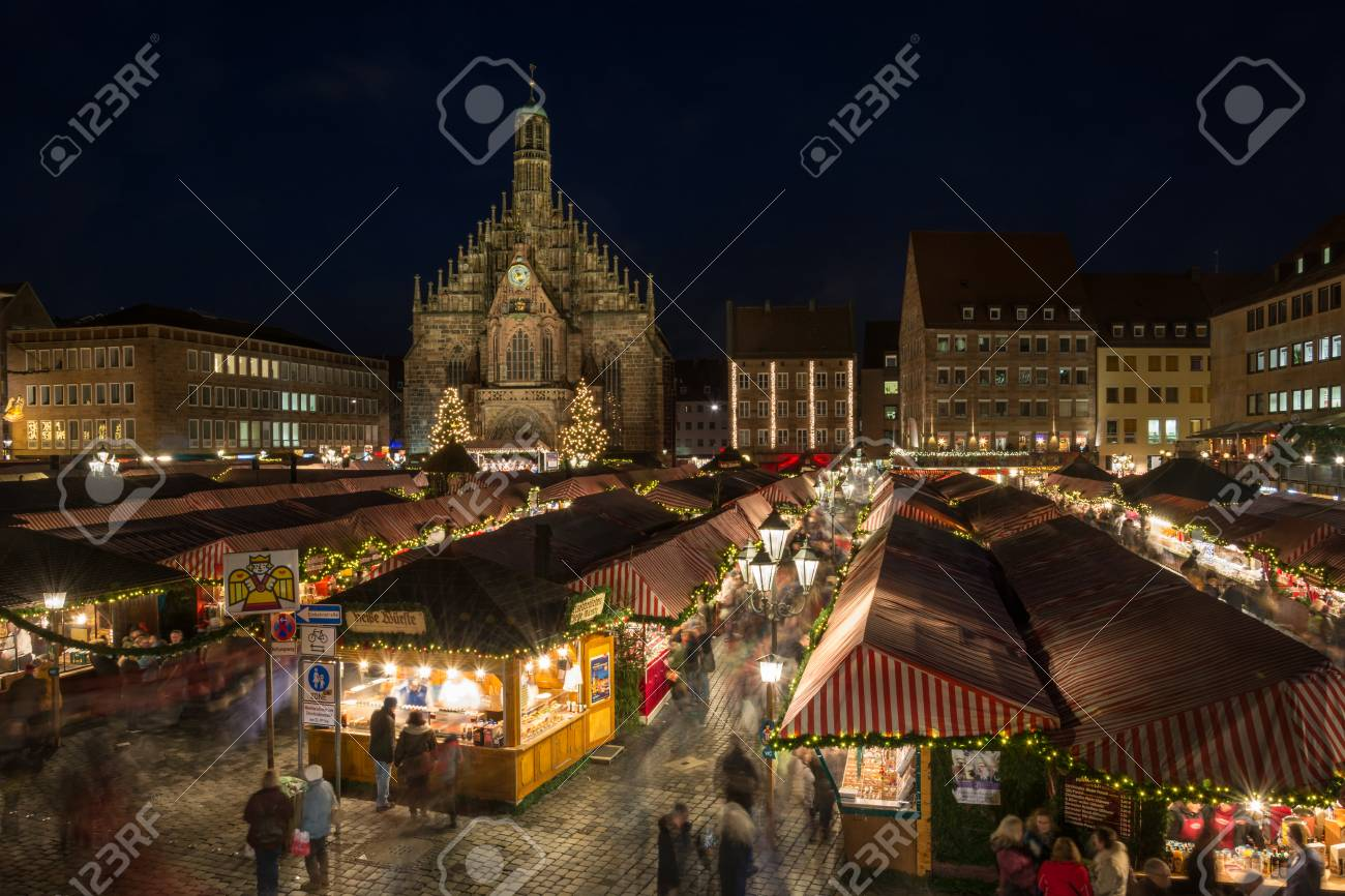 The Christmas Market In Nuremberg At Night Stock Photo, Picture And ...