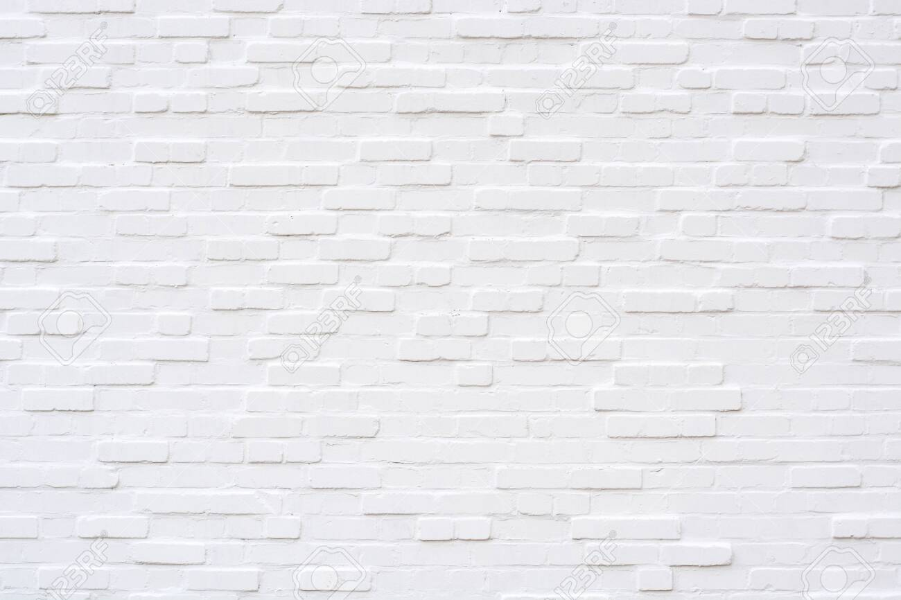 An empty white brick wall from the front - 144962686