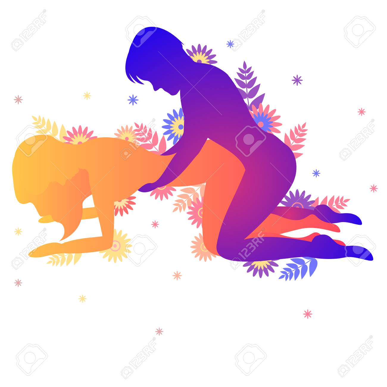 Kama sutra pose The Hound. Man and woman on white background doing poses illustration with flowers - 106444864