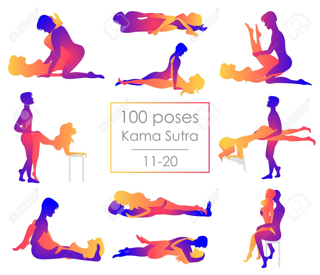 Set ten Kama Sutra positions. Man and woman on white background poses illustration. Hundred poses - 107686218
