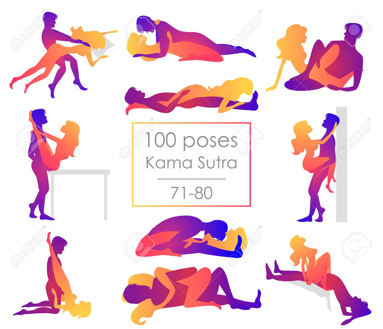 Set ten Kama Sutra positions. Man and woman on white background poses illustration. Hundred poses - 107686222