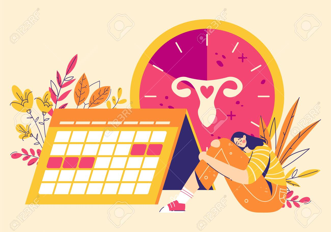Painful menstruation concept. Women check menstrual days, clock with female genital organs silhouette. Modern flat style illustration - 147704079