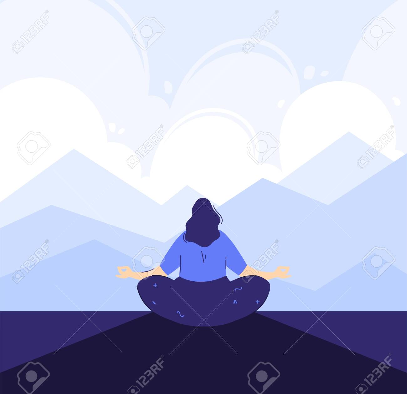 Yoga girl in the front of mountains background. Outdoor meditation concept. Lotus pose - padmasana. Woman relax and chill. - 149455042