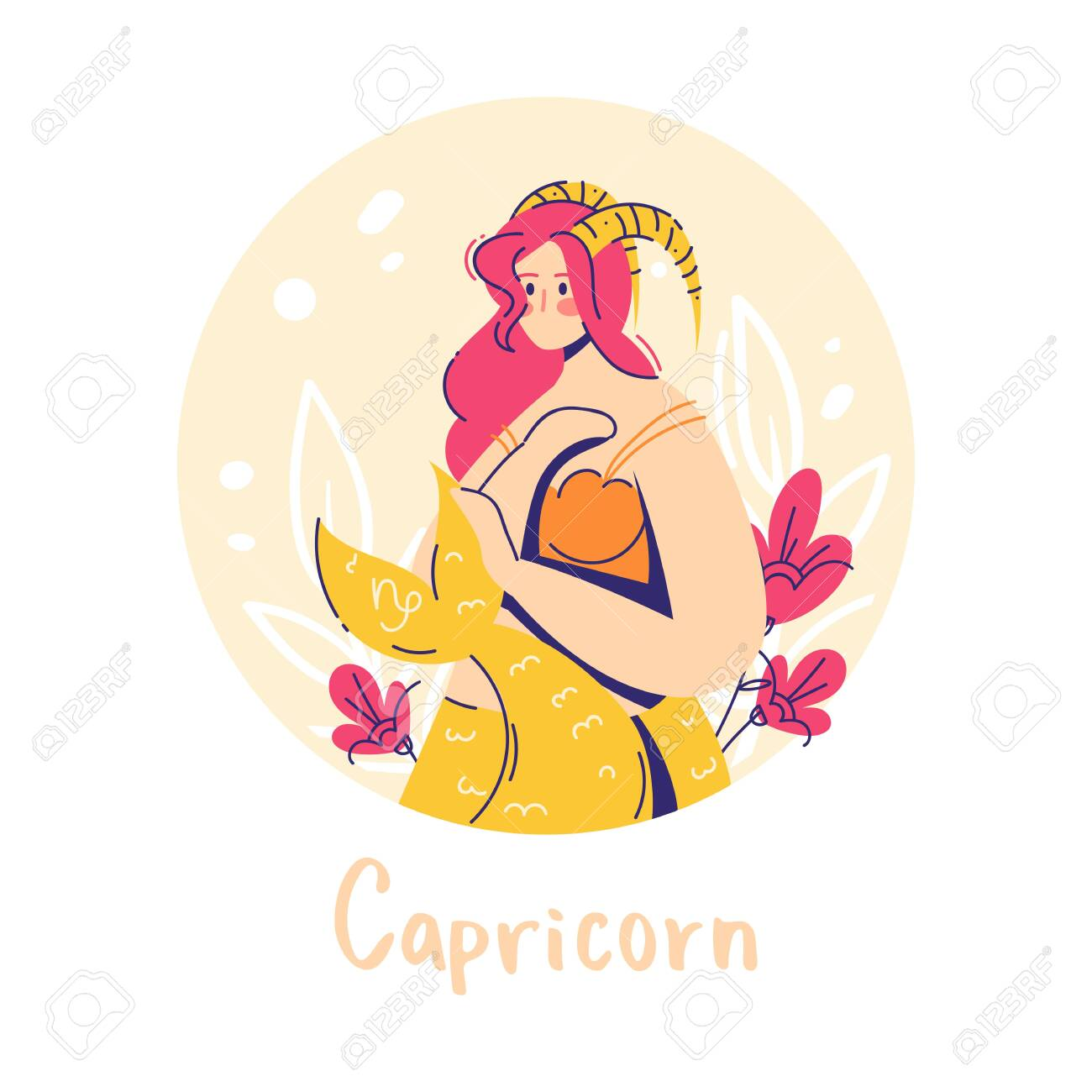 Capricorn zodiac sign. Earth. Female character and element of ancient astrology. - 149455049