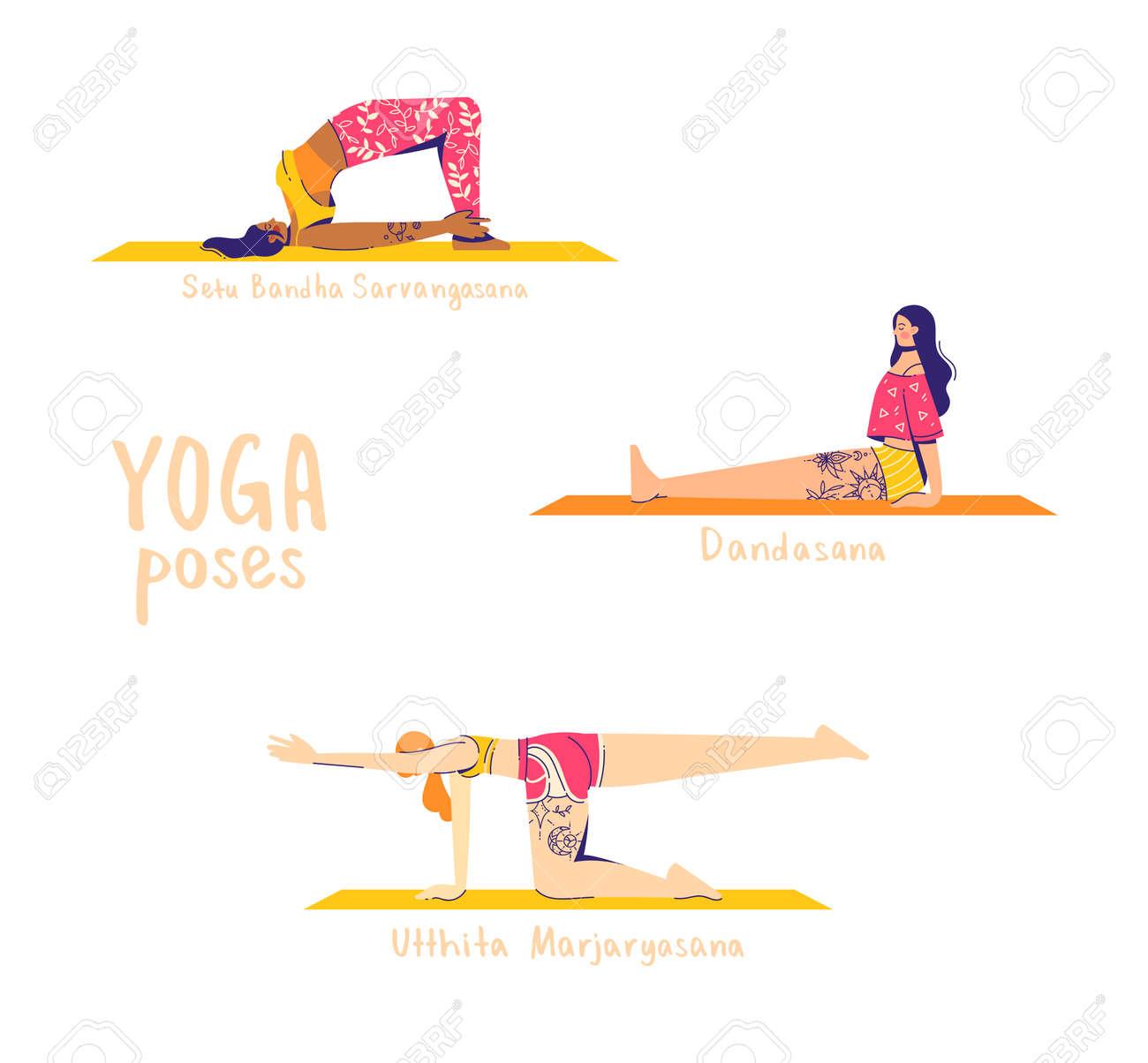 Set of yoga poses. Female characters practice yoga. Yoga concept. 'yoga poses' sign. Modern flat style vector illustration isolated on white background. - 149978200