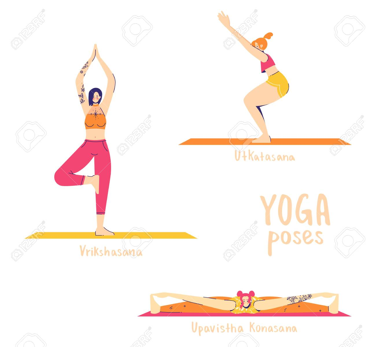 Set of yoga poses. Female characters practice yoga. Yoga concept. yoga poses sign. Wide-angle seated, tree and chair pose. - 149978205