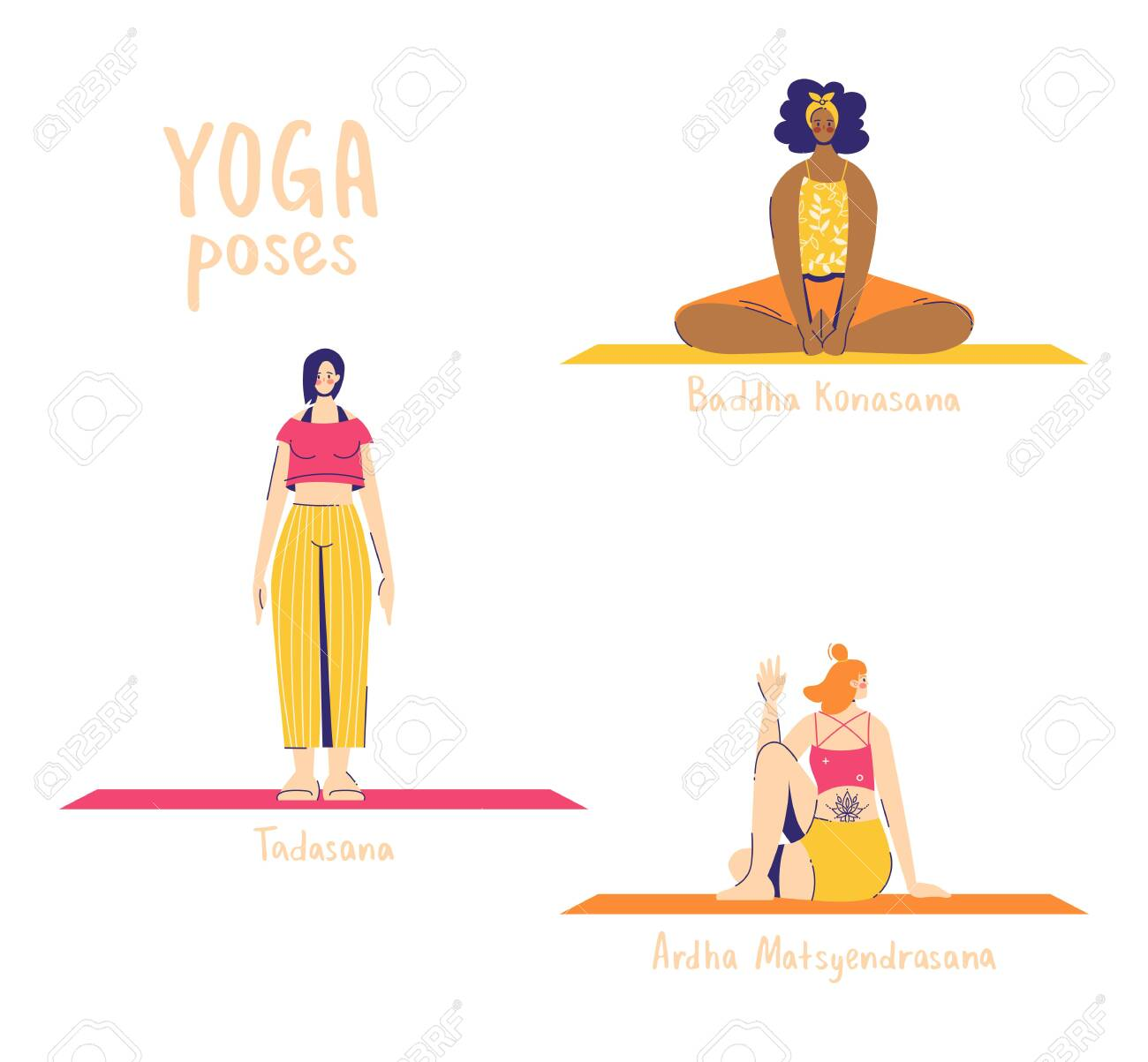 Set of yoga poses. Female characters practice yoga. Yoga concept. yoga poses sign. Half lord of the fishes, bound angle and mountain. - 149978208