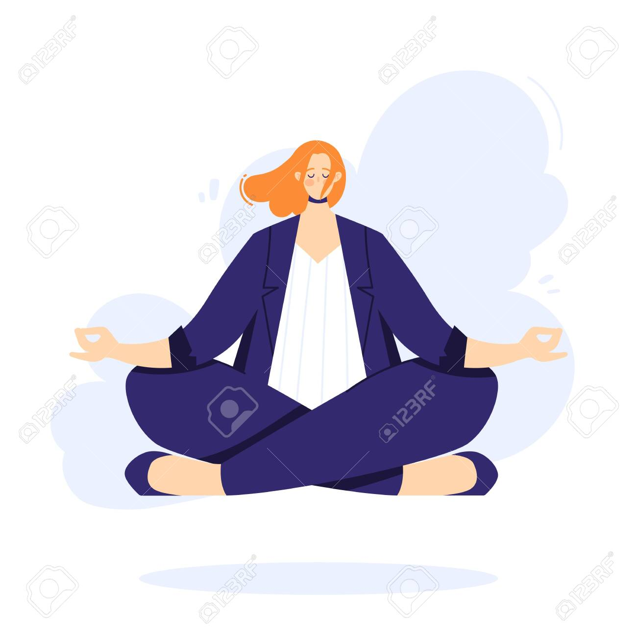 Businesswoman is doing yoga in the lotus pose to calm down after stressful day and hard work in office. Female character over floor. - 150146480