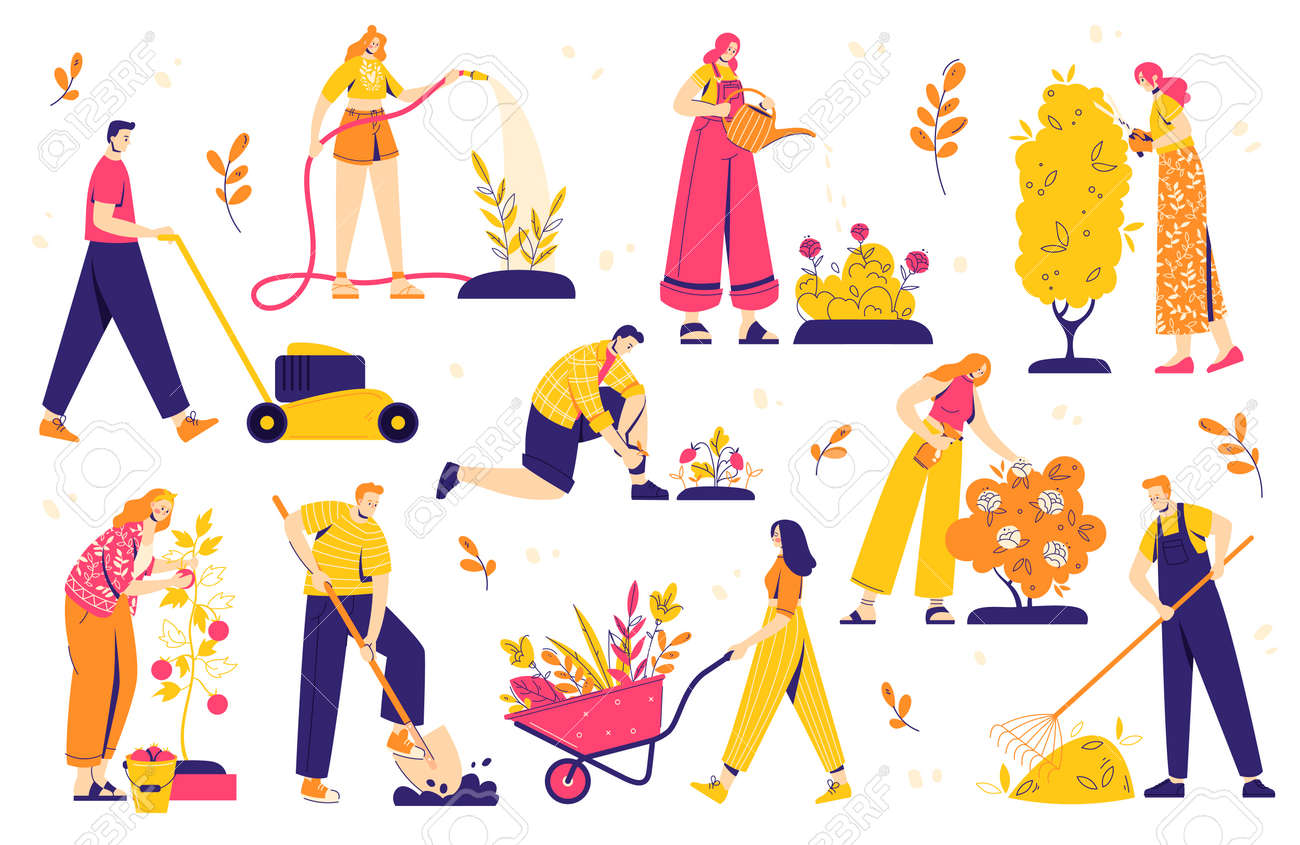 Gardening people set, diverse people men and women, doing hobby garden work: watering, planting, cutting, hoeing, arranging. Spring gardening concept. - 170358952