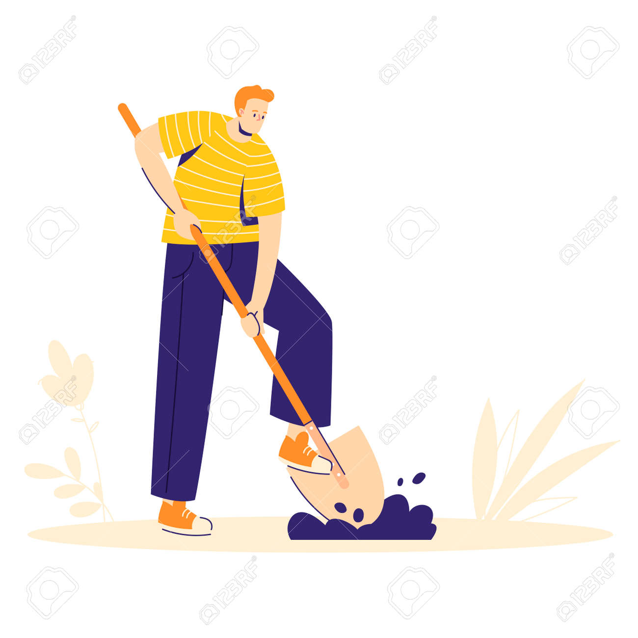 Garden work concept. The man character is digging the ground with a shovel. Hobby gardener. - 170358962