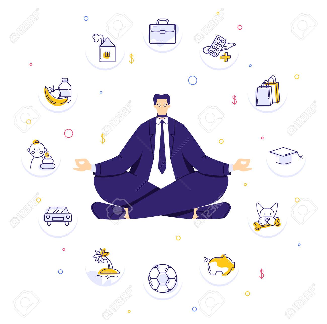 Man sitting in yoga lotus pose and meditating. Human needs icons. Life balance concept - 170358967