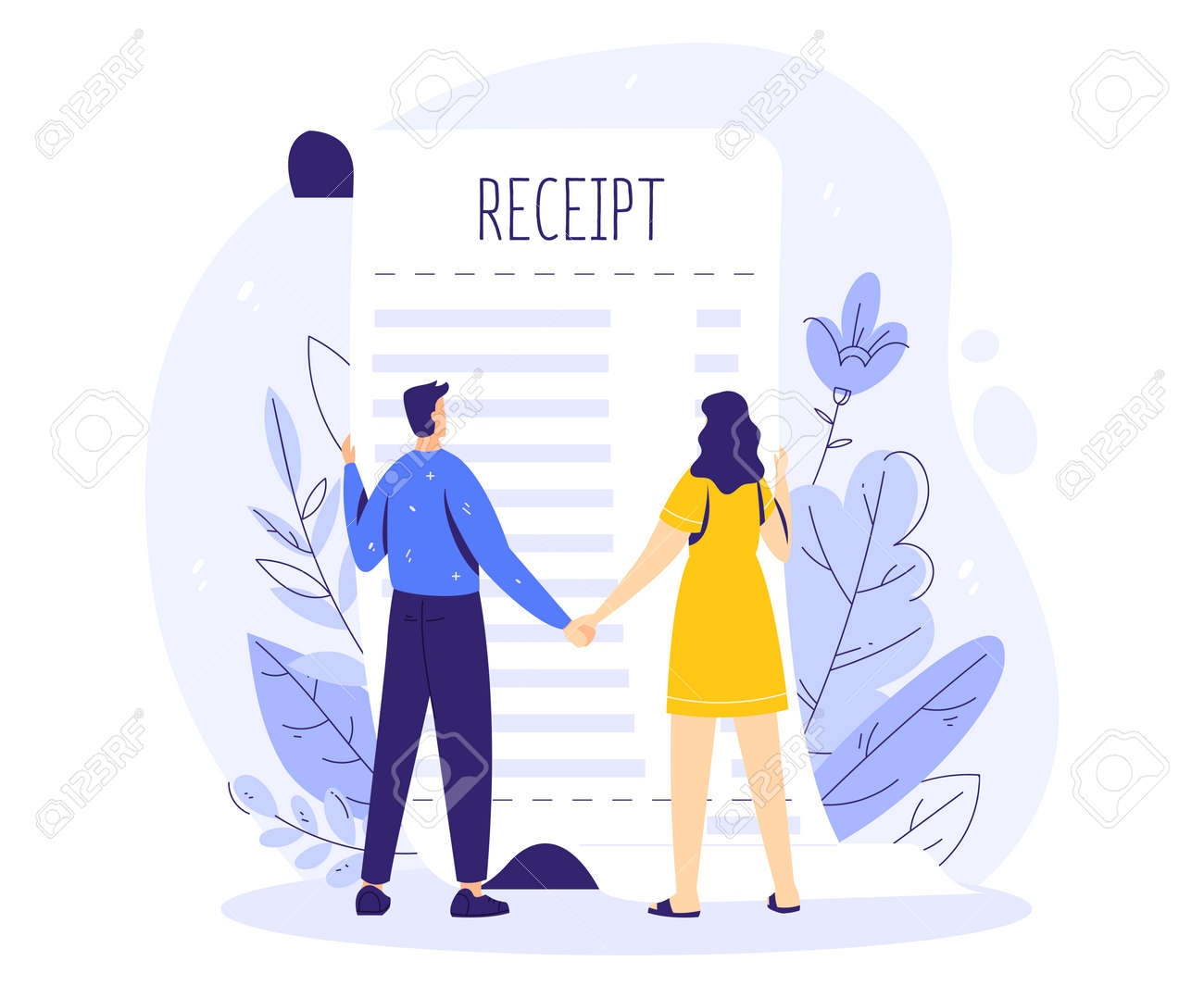 Family budget concept. Man and woman couple hold hands and look at the shop receipt. - 170358971
