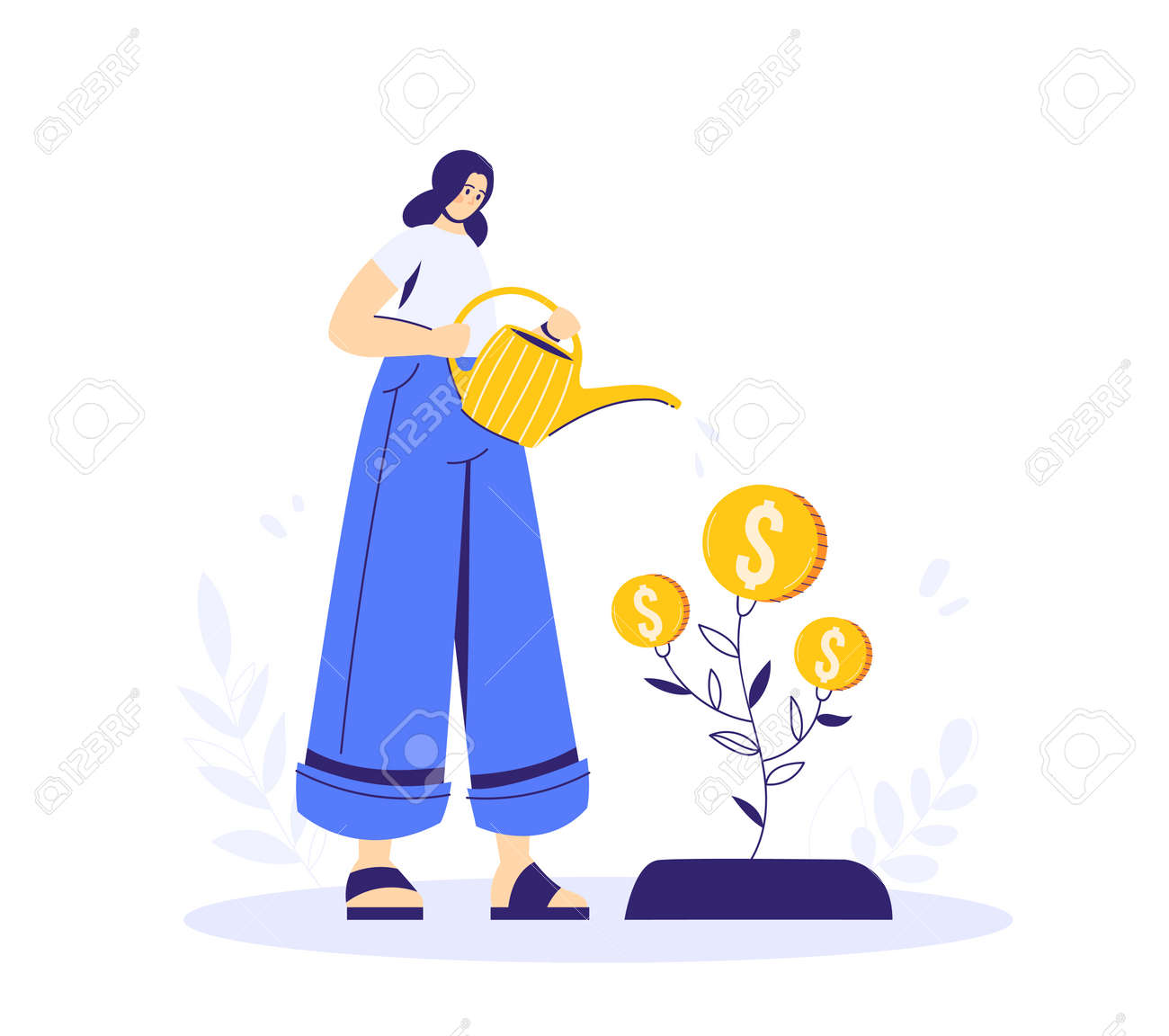 Growing tree with coins, caring for a tree, woman watering the plant. Growing business concept. A symbol of successful business. - 170358972