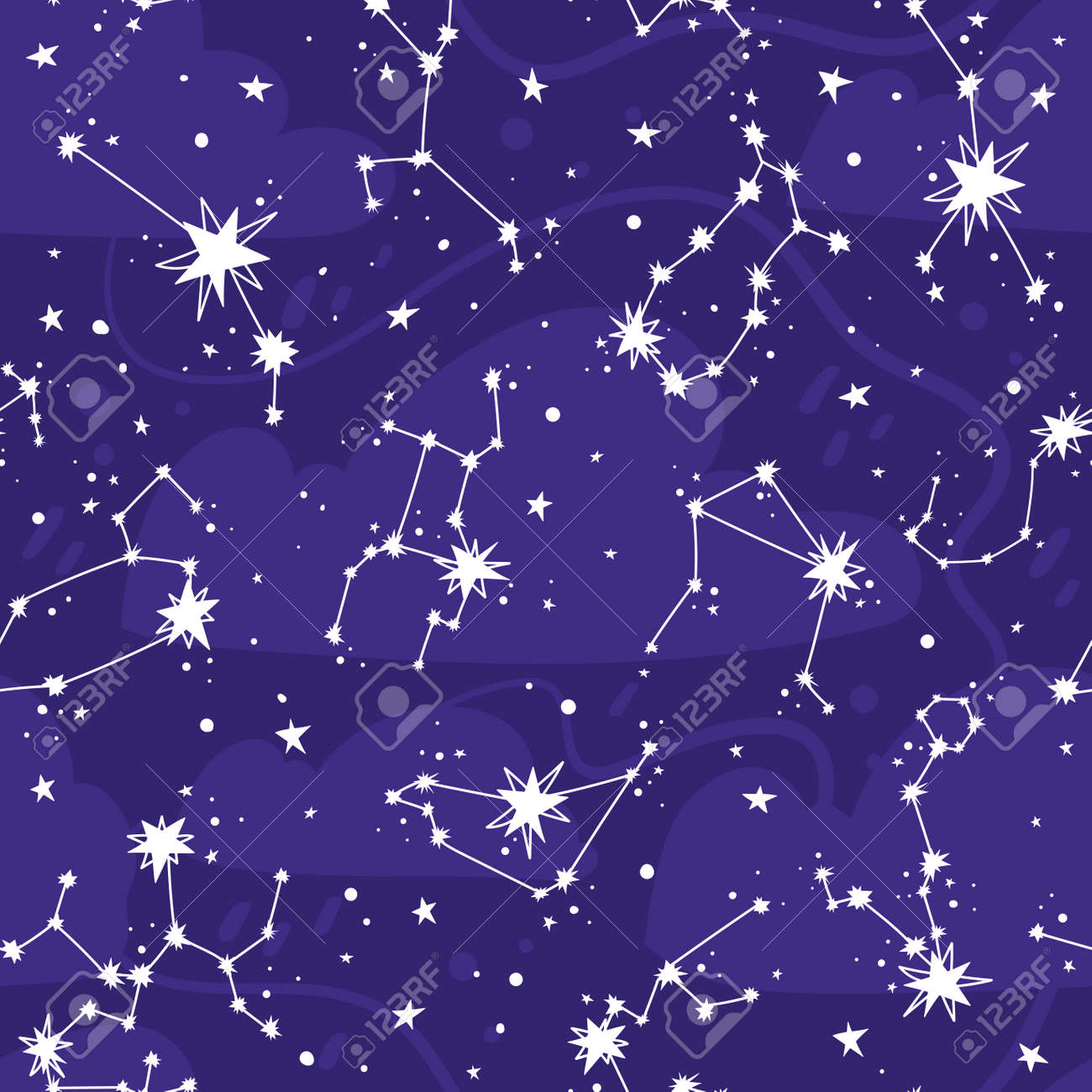 Constellations and stars vector seamless pattern. Astronomical background with zodiac signs - 170358989