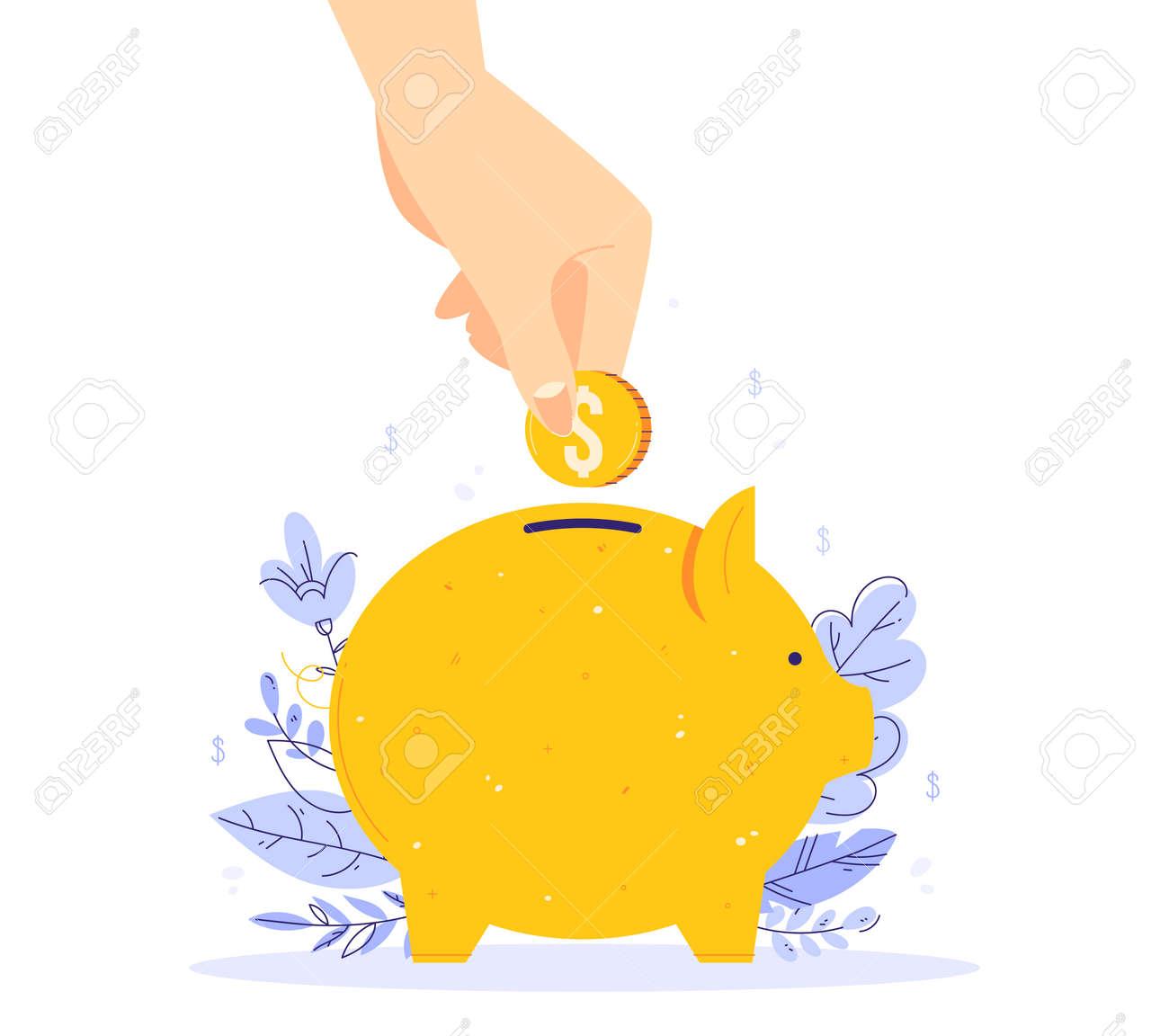 Saving money concept. Human hand put money in a piggy bank - 170358991