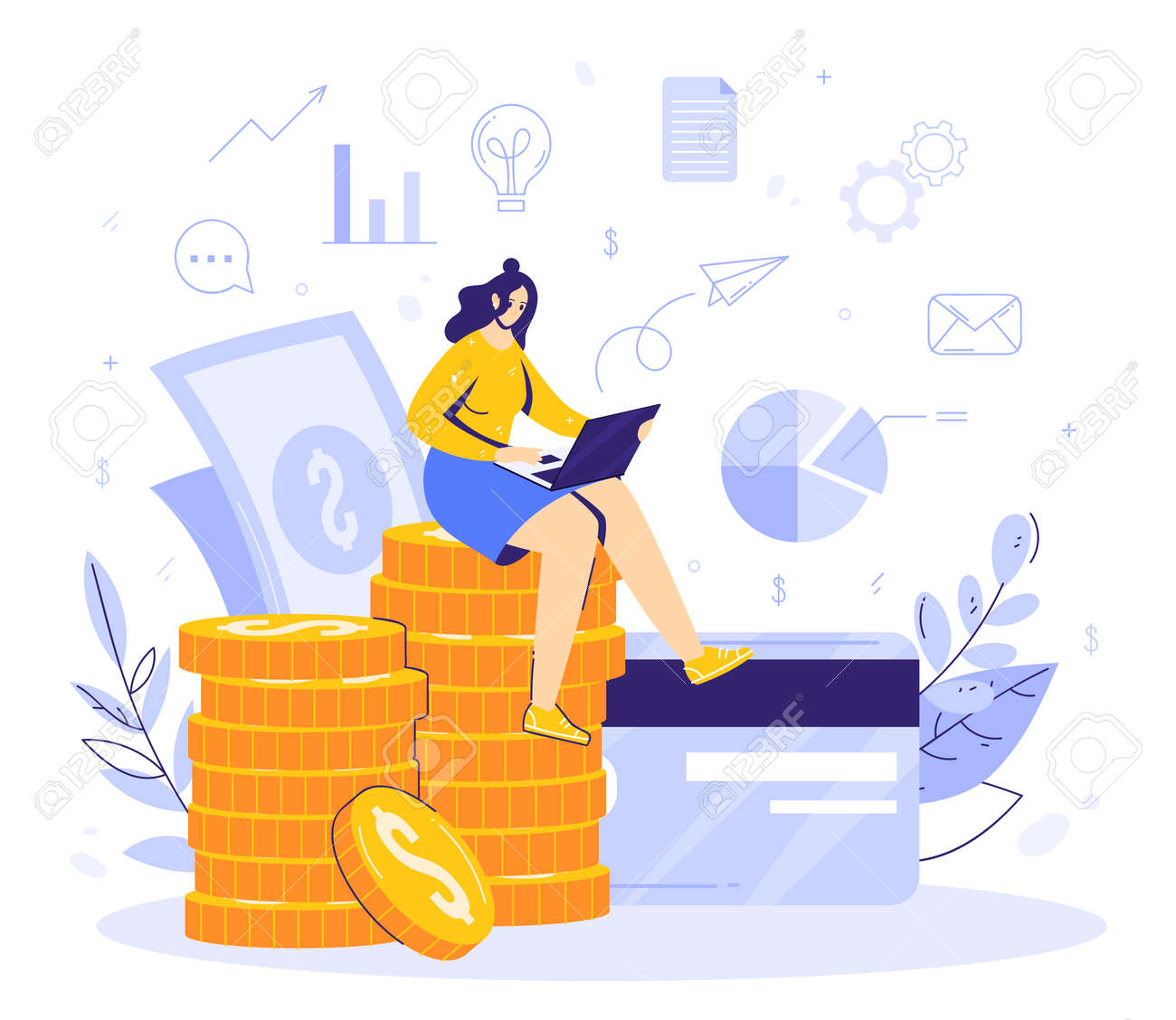 Online work in internet concept. Modern business. Woman sits on a stack of moments and earns remotely using a computer. Card and banknotes, financial icons. Successful full-time freelancer. - 170358993