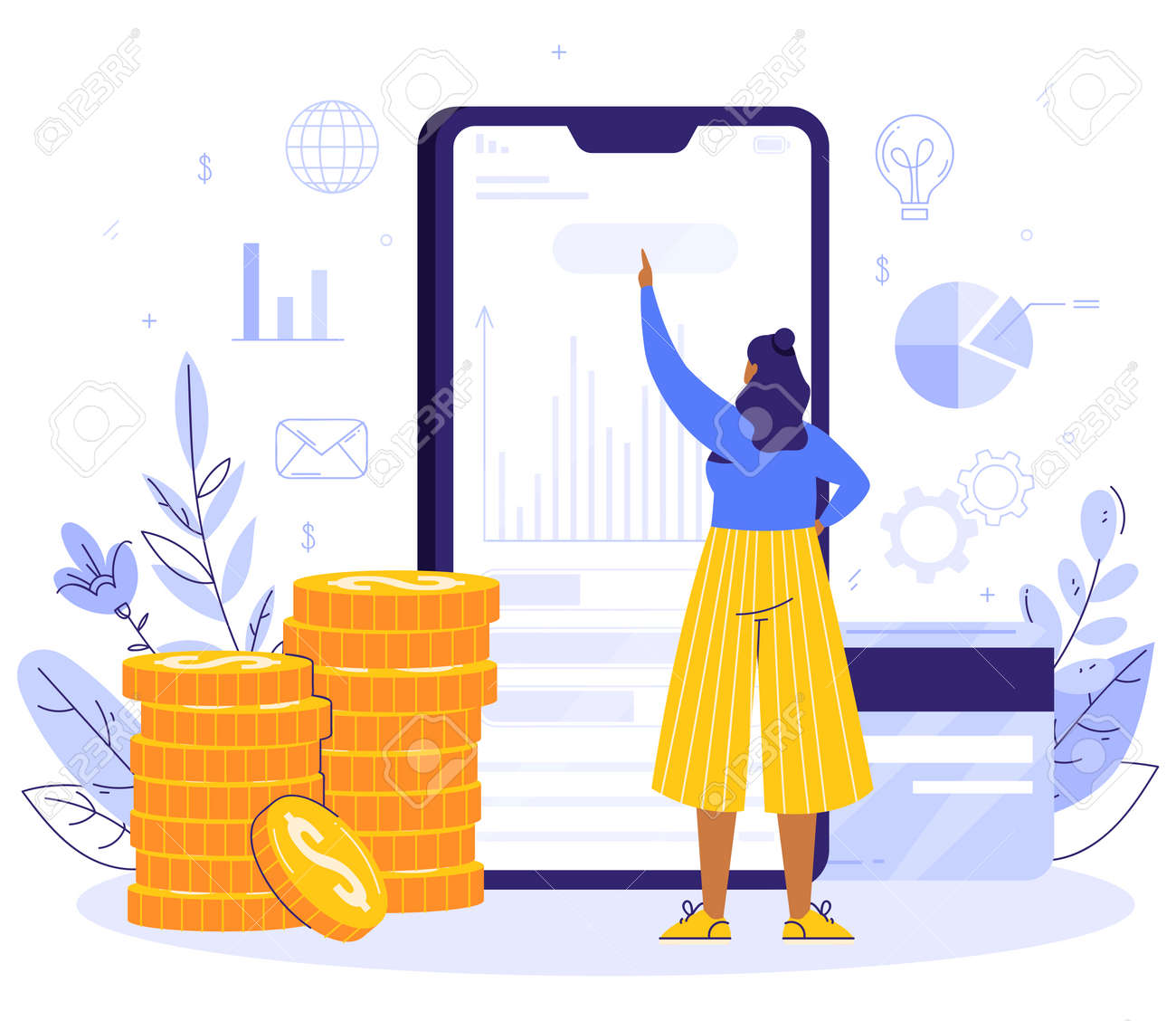 Online Payment concept. The girl is standing next to the smartphone. Money Transfer and Payment Transaction in Online Banking Mobile App. Coins and card - 170358994