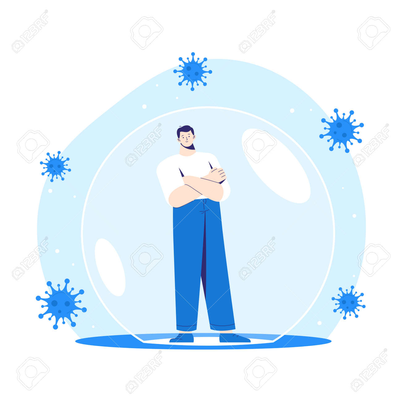 Man stands inside a protective bubble. Adult character is vaccinated and protected from coronavirus COVID-2019 - 171174828