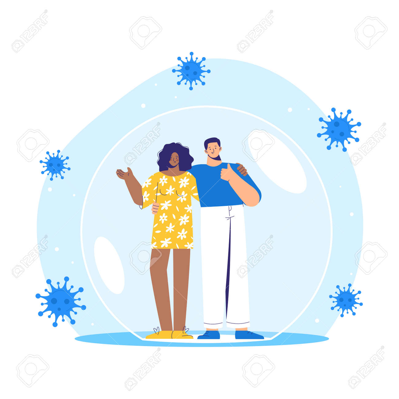 Man and woman stands inside a protective bubble. Adult characters are vaccinated and protected from coronavirus COVID-2019. - 171174829