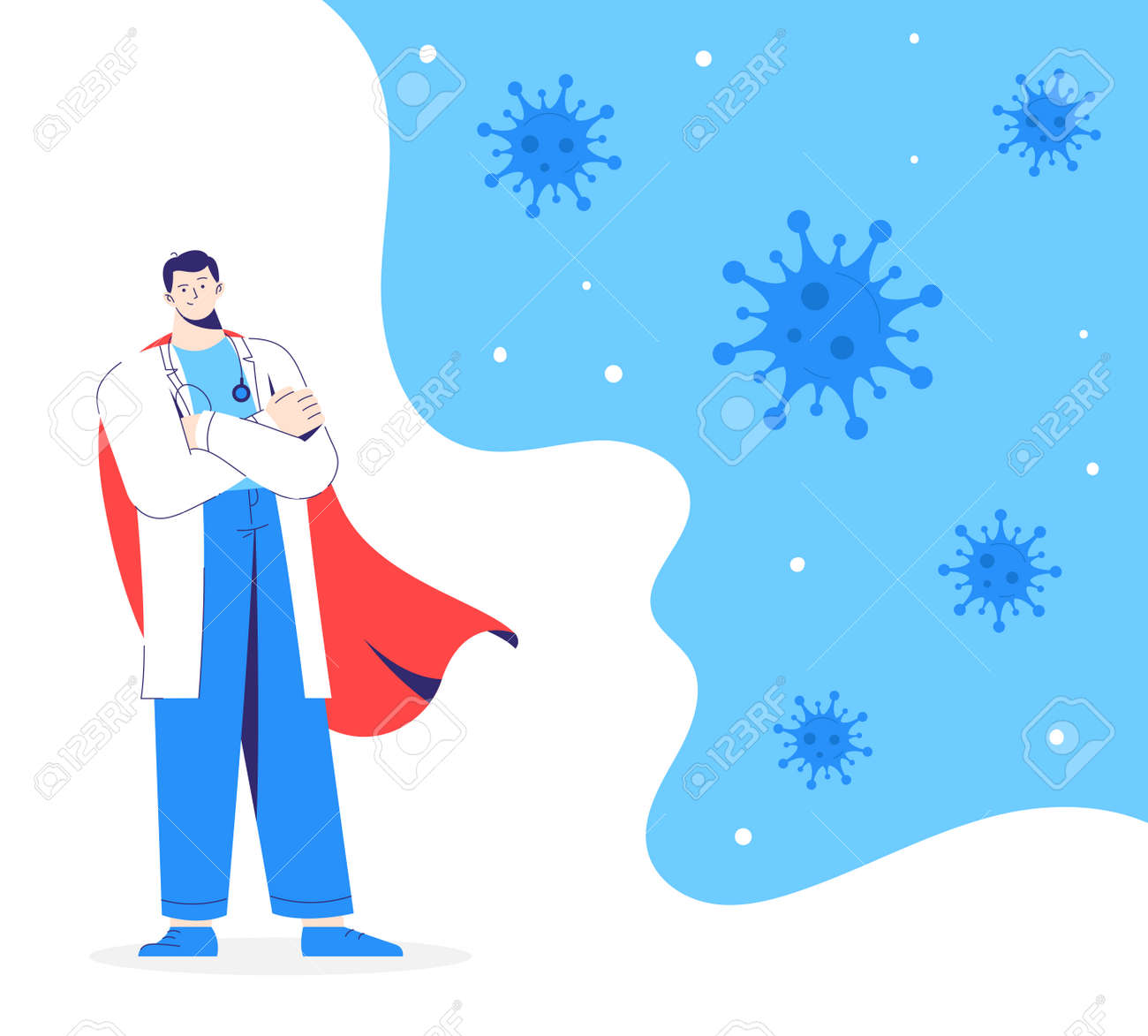 Doctor hero in white coat and red cloak stands on the protection against viruses. - 171651044