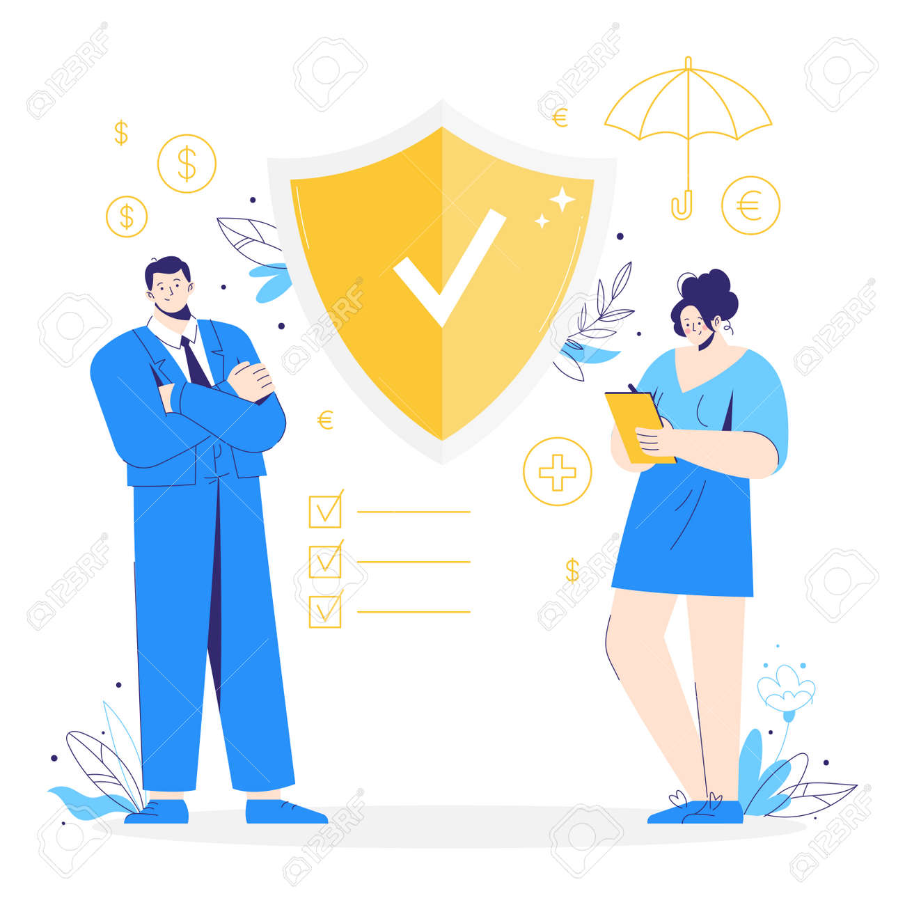 Man and woman stand near a shield to protect against attacks. Protection, insurance, health, business risk concept. Money, umbrella and checklist icons. - 171651048