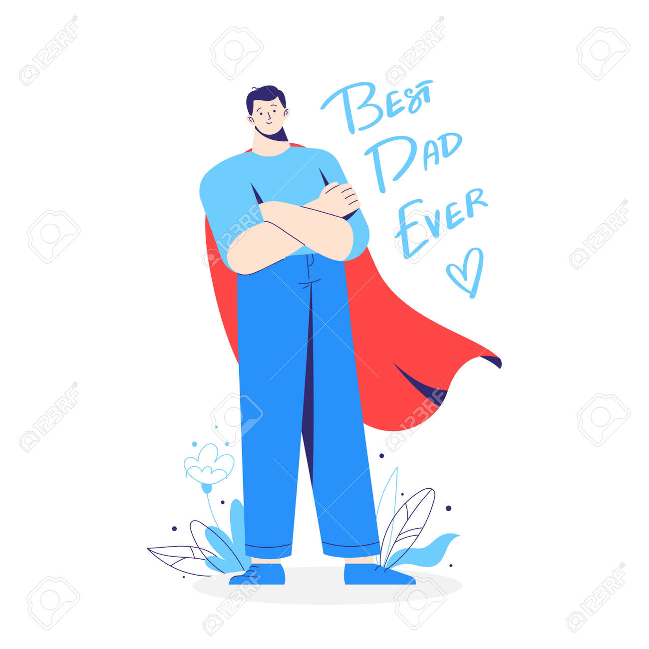 Father, dad, daddy as a hero, in a superhero costume with red cloak. Inscription best dad ever. - 171651050