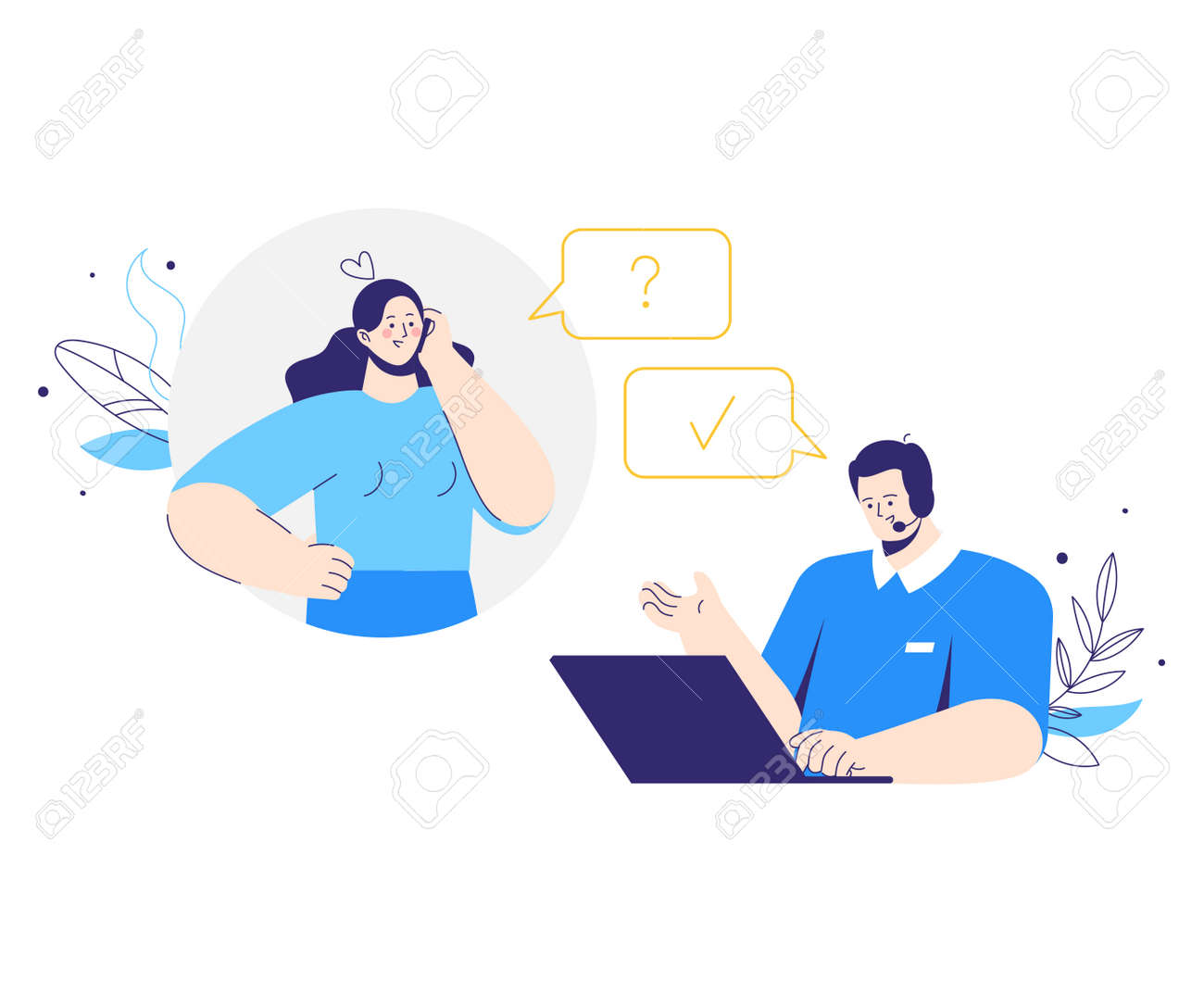 Client character call to customer service. Man operator with headphones and microphone with laptop. Woman asks a question. Technical support, assistance, call center concept. - 171852117