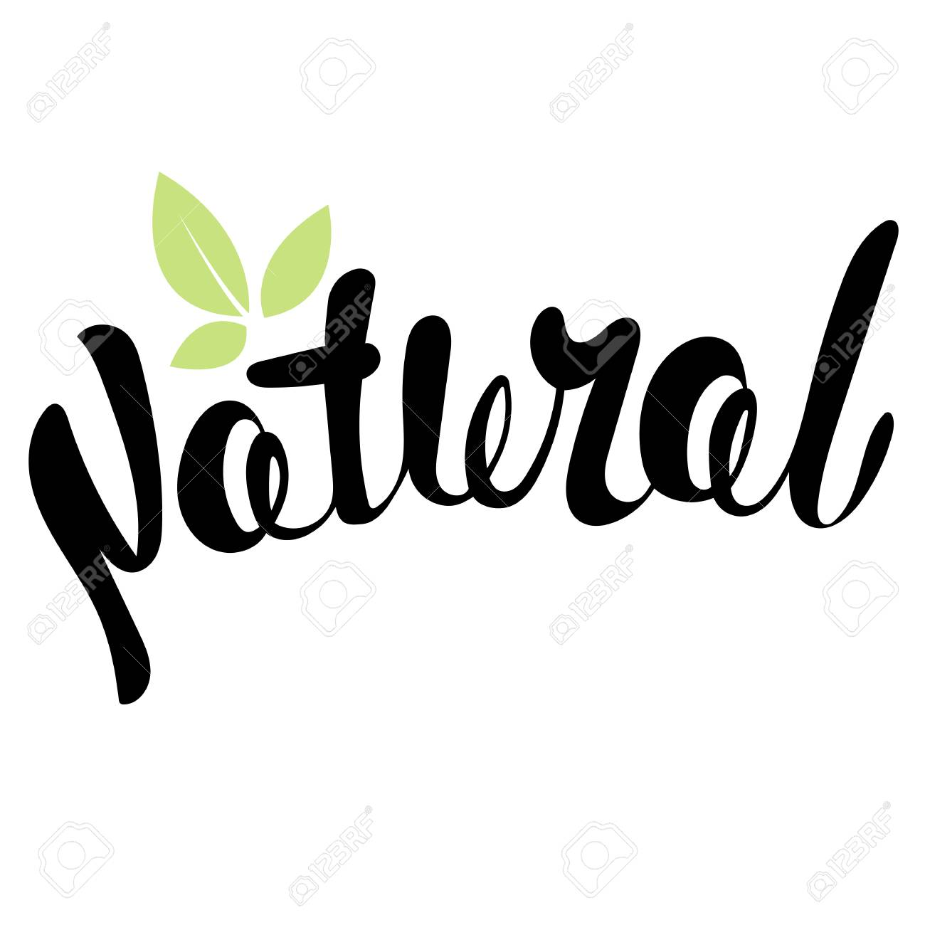 Logo Natural with leaves, natural product, organic, healthy food