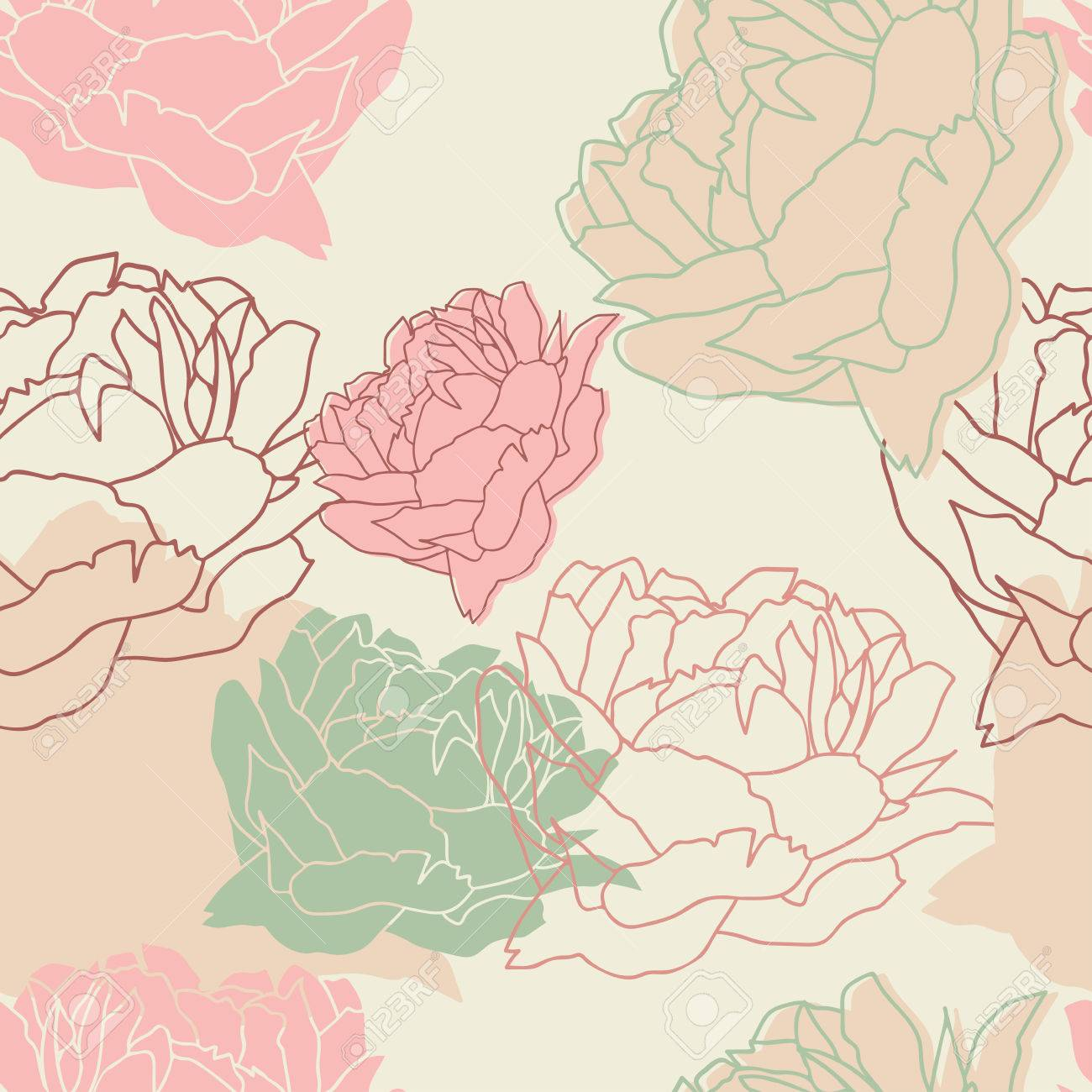Seamless Pattern With Peonies Floral Wallpaper Floral Background