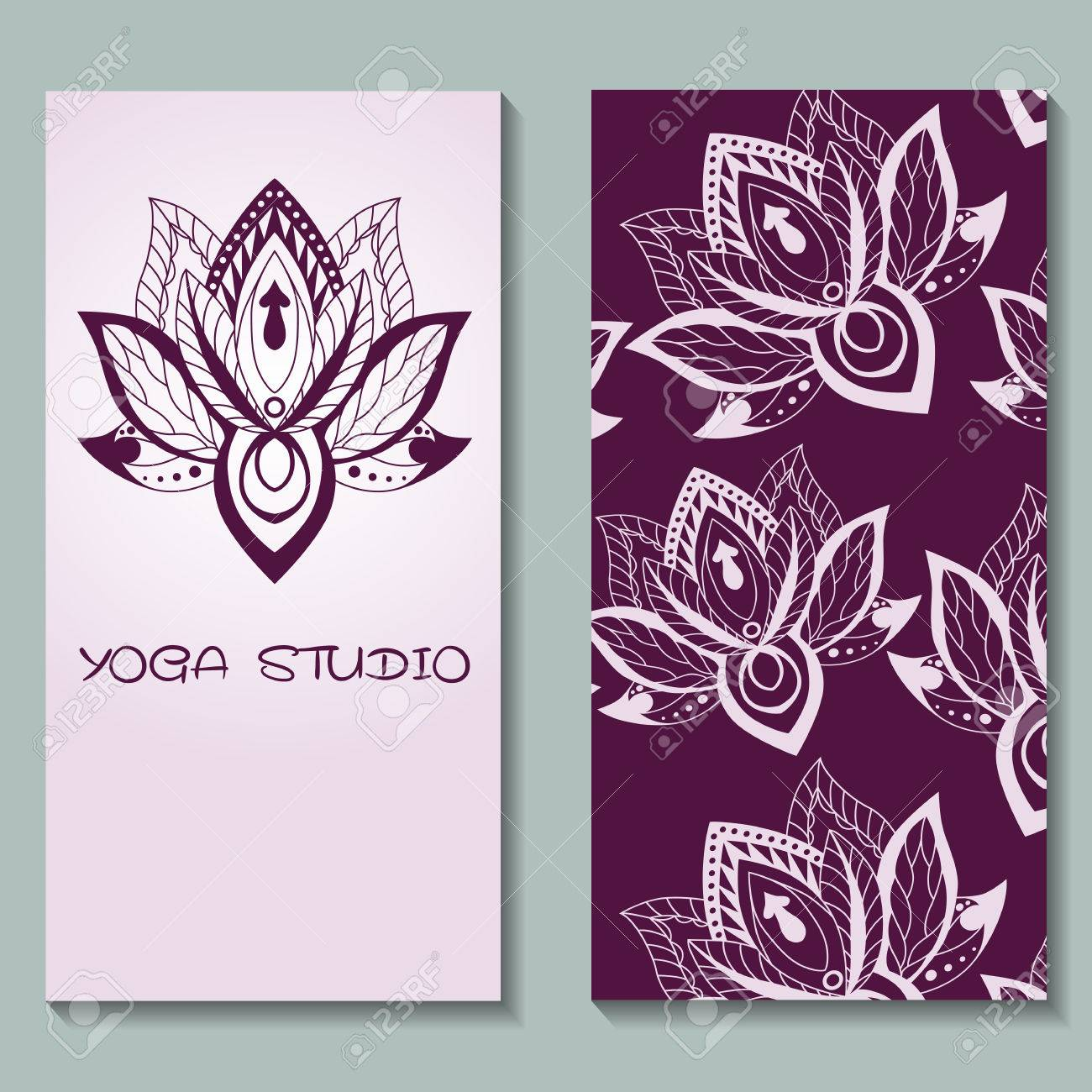 Cards Template For Yoga Studio With Lotuses. Yoga Vertical Vector ...