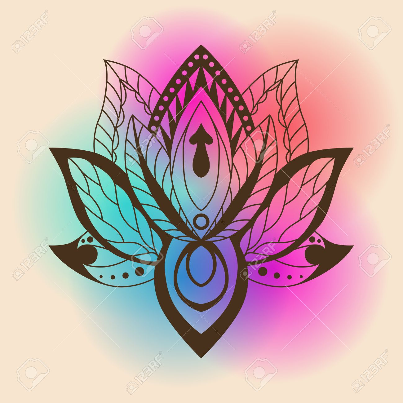 Lotus Mandala Vector Ornamental Lotus Ethnic Zentang Ornamental