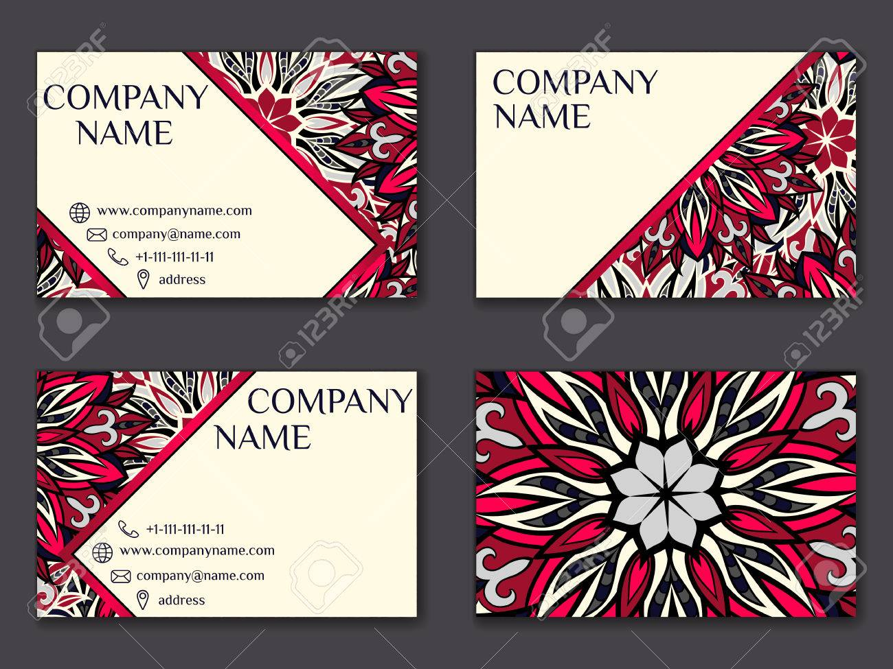 vector vintage business card set beauty designs floral mandala