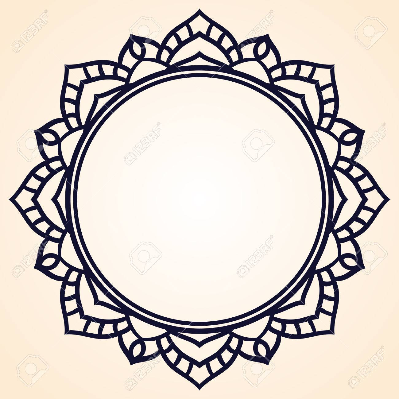 Vector Frame In Shape Of A Circle. Ornate Element For Design ...