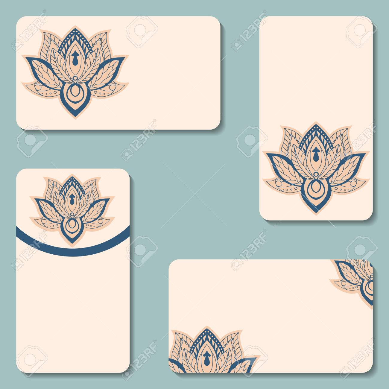 Set Of Business Cards With Lotuses. Beauty Designs. Vector Vintage ...