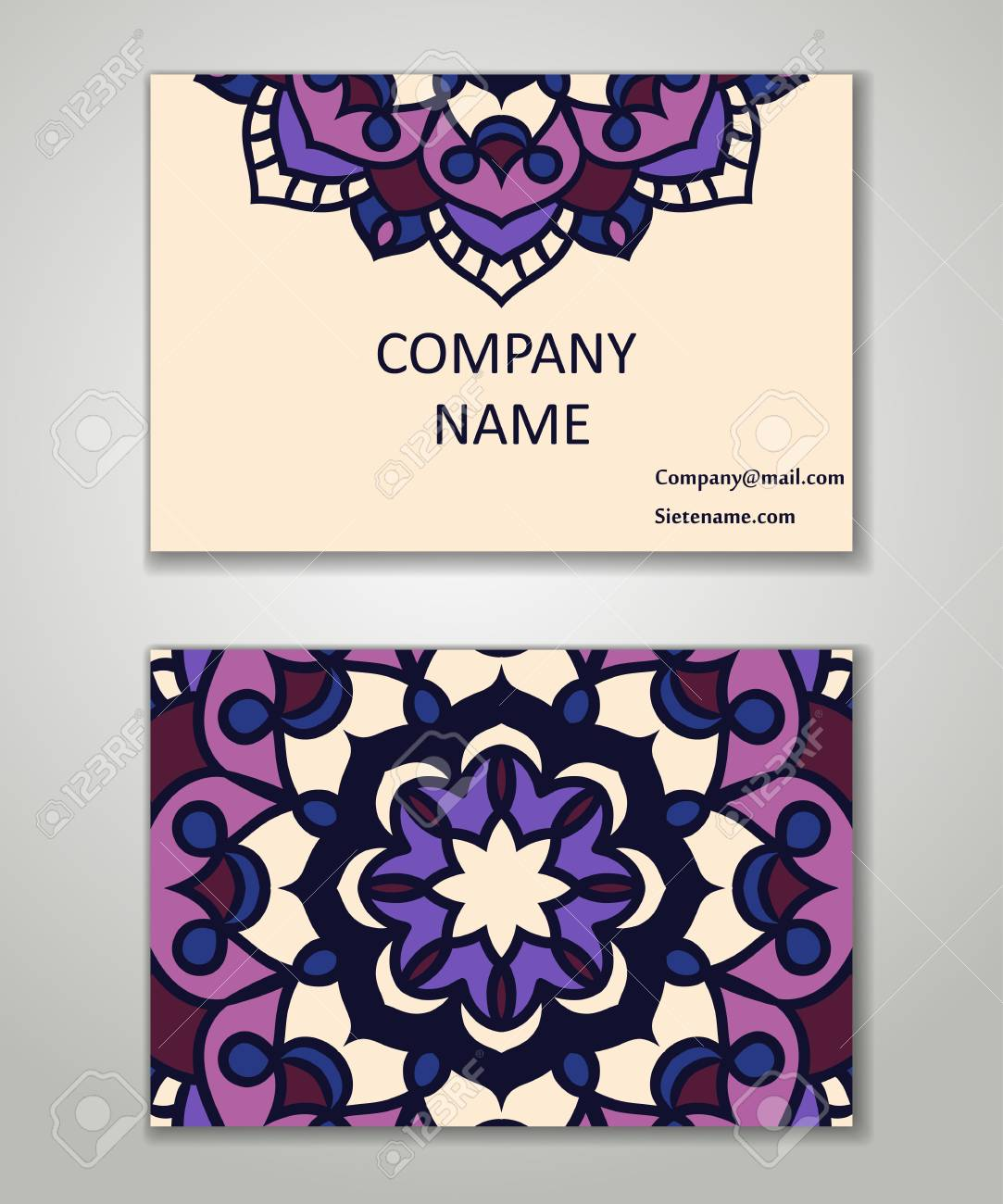 vintage business card set beauty designs floral mandala pattern