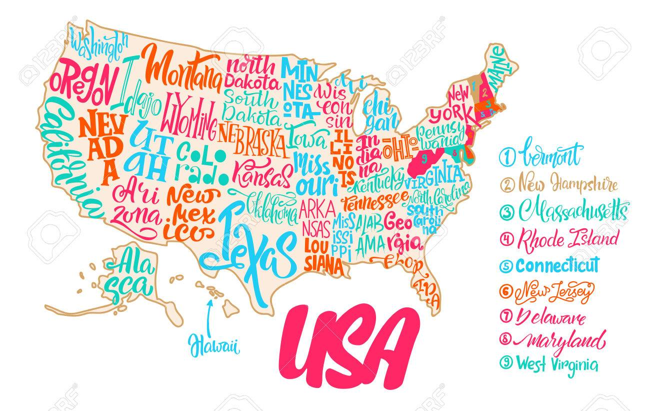 Iowa On Usa Map.Silhouette Of The Map Of Usa With Hand Written Names Of States
