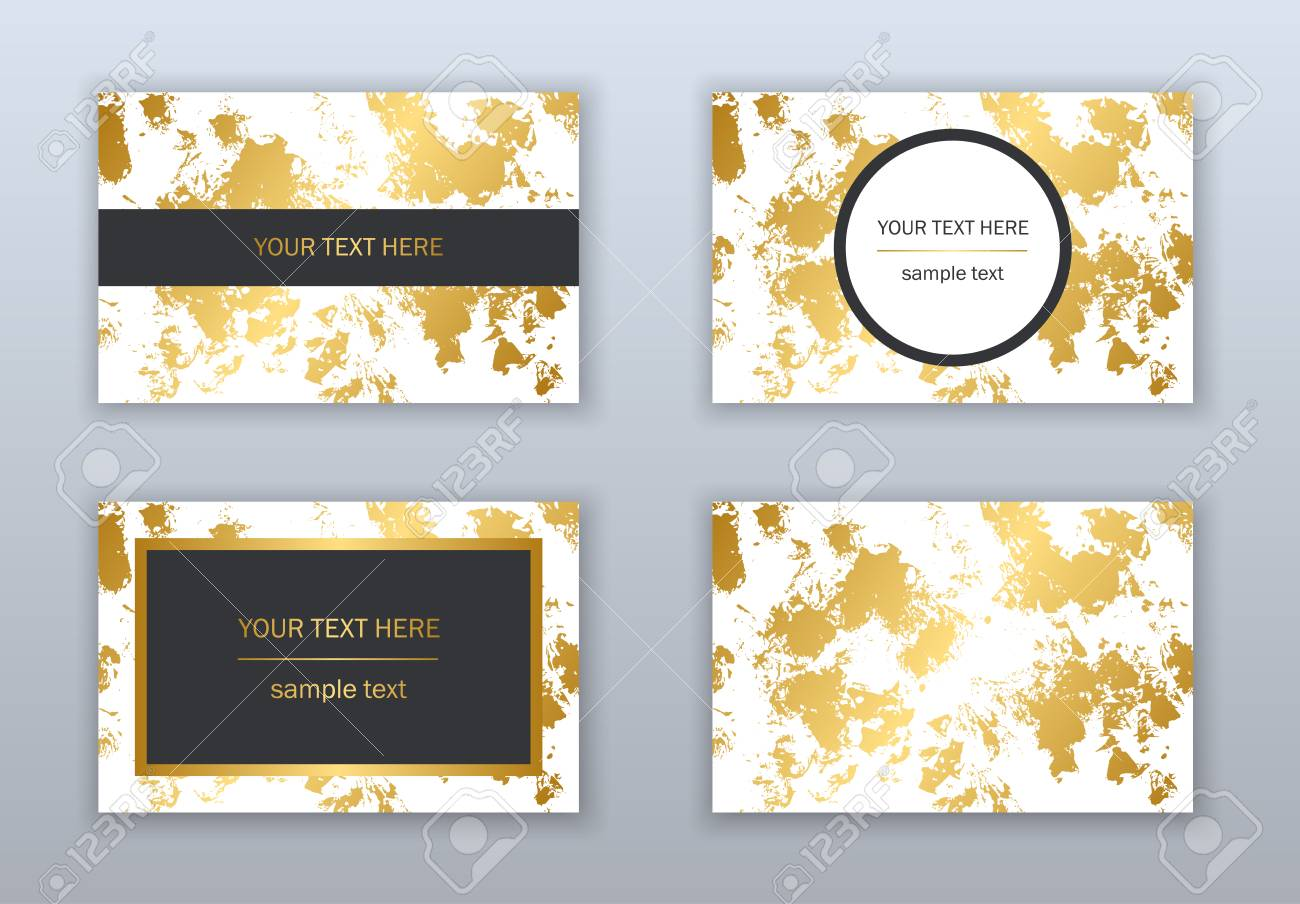 Set of white black and gold business cards templates modern set of white black and gold business cards templates modern abstract design hand flashek Images