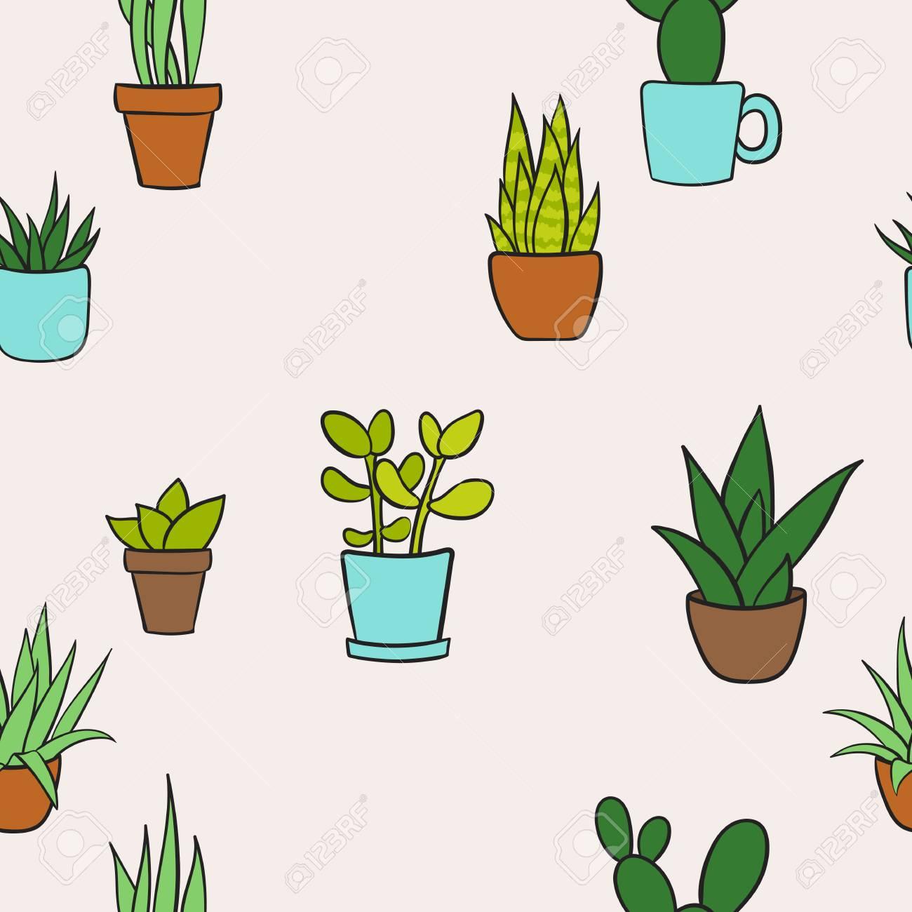 Vector Seamless Pattern Avec Des Plantes Maison Dans Des Pots Motif De Dessin Animé Mignon Illustration Vectorielle